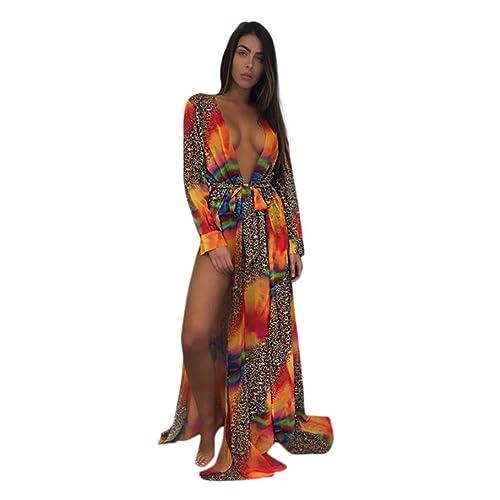 8e9ffce93f Sixcup Long Kimono Cardigans for Women Shirt Bikini Cover up Swimwear Beach  Maxi Wrap Skirt Sarong