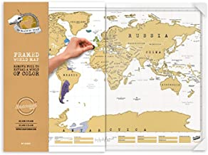 Luckies of London Ltd LUSCRFRA World Scratch Wall Map, Framed Scratch Off Map, Personalized World Travel Map, Beautiful Scratch Poster, Fun Map Décor, for Home Or Office, Original Framed