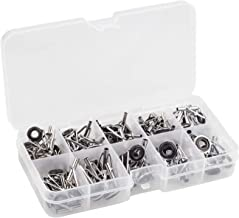 Spinning Rod Guides Tip Ceramic Guide with Eyelets, Fishing Rod Guide Replacement Tip Spare Parts Repair and Tips Repair Eye Loop Kit with Box for Spinning Rods Sea Fishing (10 Size - 80Pcs)
