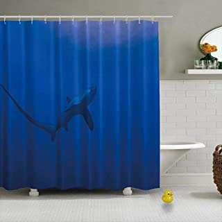 YOLIYANA A Lone Thresher Shark at a Cleaning Station in Monad Shoal Near Malapascua Island in The Philippines Shower Curtain Waterproof Polyester Fabric Shower Curtain,008157,79''Long x 71''Wide