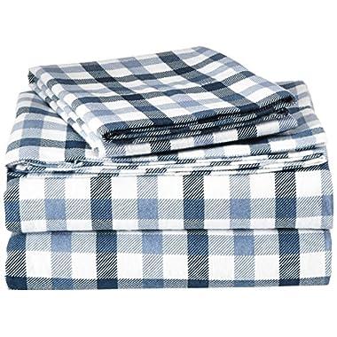 Tribeca Living NAPL200EDSSKI 200-GSM Micro Plaid Printed Flannel Sheet Set, King, Multicolor