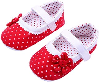 DZT1968 Baby Girl Cloth Soft Sole Round Dot Prewalker Mary Jane Shoes With Flower