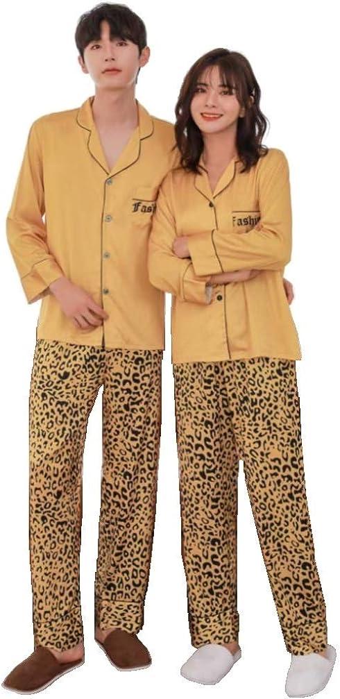 Couples Pajamas Sets Adults Satin,Long Sleeve Loungewear Two-Piece Sleepwear Button-Down Pj Set