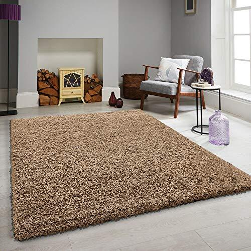 FB FunkyBuys grande piccolo moderno Soft Touch Shaggy spessi lussuoso 5cm folto e camera da letto–Tappeto disponibile in 12colori vivaci e 4misure, Dark Beige, 160 x 230 cm