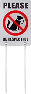 Kichwit No Dog Poop Yard Sign, Double Sided Please Be Respectful Sign, All Metal Construction, 7.9