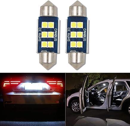 Fezz 10Pcs Bombillas LED Coche Interior Luz Paquete Kit Blanco