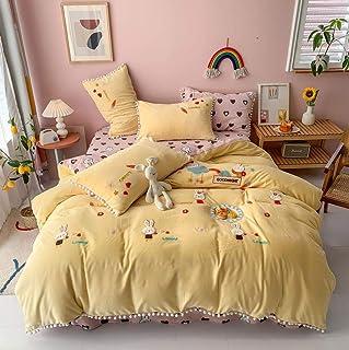 juego de ropa de cama 135x190,Colcha de estilo de dibujos animados de invierno bordado cama de estudiante individual y doble color sábana reversible funda nórdica cama familiar de Navidad de cuatro p