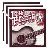 John Pearse Acoustic Strings Phosphor Bronze Light 12-53 (3 Pack Bundle)