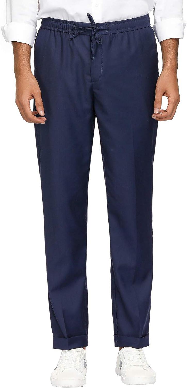 PJ PAUL JONES Men's Slim-Fit Flat-Front Pant Elastic Waistband Drawstring Casual Pant