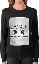 JGW87O&& Women's Crew Neck Sweater, Warm Happy Festivus Deers Knitwear for Womens