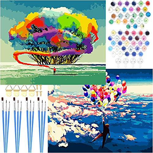Nabance Pintar por Números Adultos, 2 Pcs 56.5cm X 47cm Kits de Pintar Acrílica DIY para Niños con 4 Juegos de Pinceles y 2 Juegos de Pigmento Acrílico, Globos de Mosca de Colores y Arbol de Humo