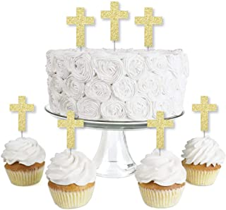 Gold Glitter Elegant Cross - No-Mess Real Gold Glitter Dessert Cupcake Toppers - Religious Party Clear Treat Picks - Set of 24
