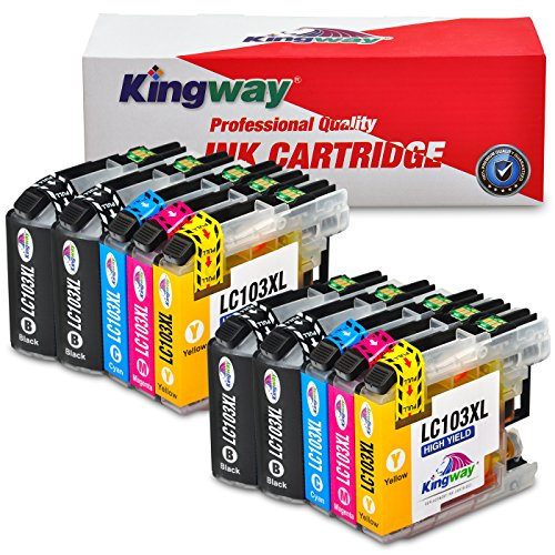 Kingway Compatible Ink Cartridge Replacement for LC-103XL LC103XL LC101 101XL for Brother MFC J870DW J450DW J470DW J650DW J4410DW J4510DW J4710DW J6720DW(10pack,4BK,2Y,2M,2C)