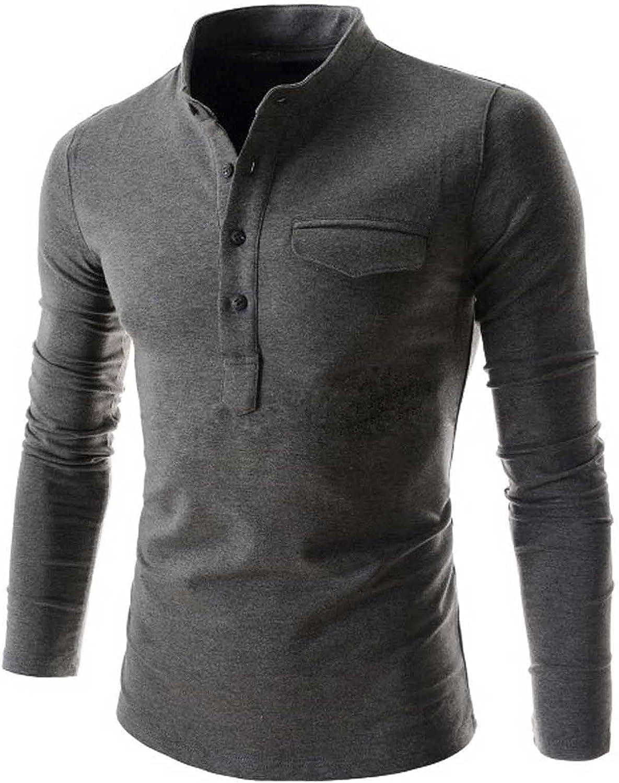 Men's Henley Shirts,Men's Comfortable Top Button V Neck Solid Color Slim Long Sleeve Blouse,Men's Graphic T-Shirts
