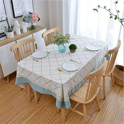 Tablecloth,Polyester Cotton Fabric Coffee Table Cloth Pastoral Style Solid Color Geometry (Color : Green, Size : 140 * 140CM) meyeye (Color : Green, Size : 140 * 140CM)