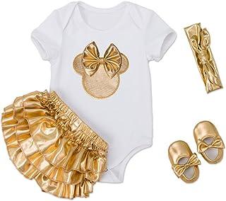 belababy Halloween Costume Gold Romper Set for 0-2T Baby Girls
