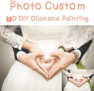 Personalized Custom Photo Diamond Painting 5D DIY Private Custom Diamond Painting, Full Diamond Diamond Embroidery Set Home Wall Decoration (DIY Diamond Paitning, 30X30CM)