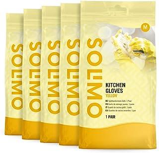 Amazon-merk: Solimo keukenhandschoenen geel, 5 paar, maat: medium