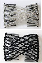 Lovef Fashion Trend Easy Stretchable Double Combs Magic Hair Combs- Black and White