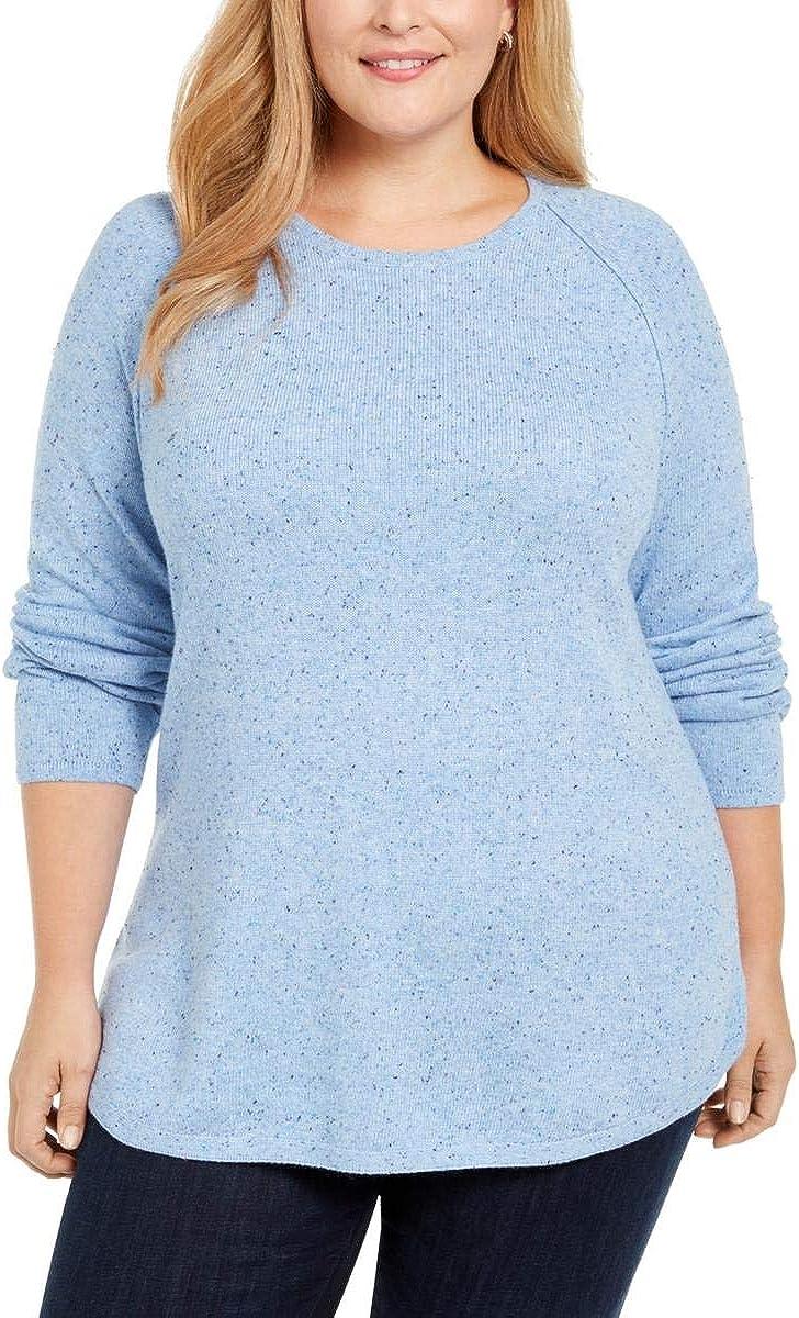 Karen Scott Womens Plus Curved Hem Confetti Speckled Sweater Blue 0X