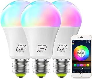لامپ لامپ هوشمند MagicLight A19 7W RGBCW Smart WiFi Smart، 60w Equivalent Multicolor White Dimmable Control کنترل لامپ LED ، هیچ هاب مورد نیاز ، سازگار با دستیار Google Alexa - 3 بسته