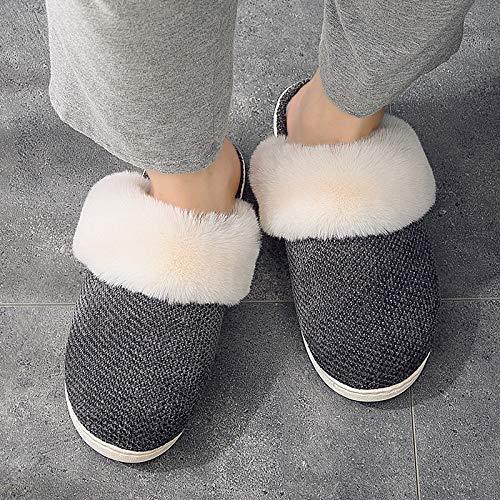 Baumwolle Pantoffeln Cotton Slippers,Schwarze Spinnen Maokou Warme Weiche, Bequeme Sweat-Absorbent Atmungsaktiv Winter Indoor Bodenbeläge Dick Unten Anti-Slip Männlich Weiblich Paar Student Loafe