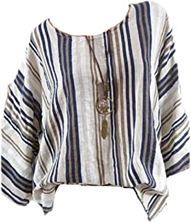 Loyomobak Womens Crew Neck Blouse Casual Loose Fit Striped Long Sleeve Tee Shirts Top