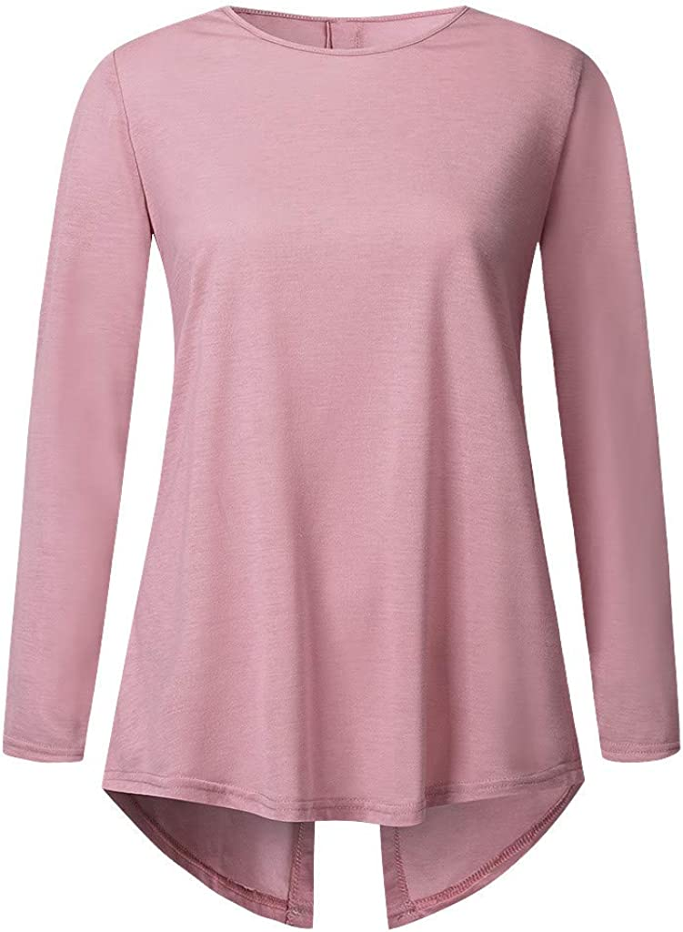 Womens Tops Long Sleeve Solid Color Scoop Neck a-Line Tunic Blouse Button Decor Back Slit Pullover Tee Shirts