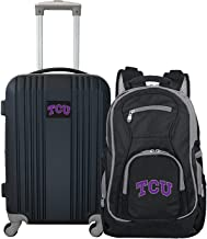 """Denco Texas Christian University Horned Frogs 2-Piece Luggage Set, Includes 21-inch Two-Tone Hardcase Spinner and 19"""" Lapt..."""