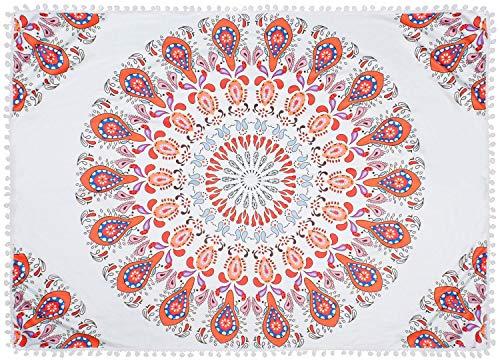 styleBREAKER Toalla para la Playa Cuadrada con Motivo Ornamental de Cachemira y pompón, Toalla de Mano, Toalla de baño, Unisex 05050077, Color:Blanco-Anaranjado