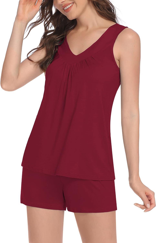 Ekouaer Womens Sleeveless Cheap Short Pajamas Tank Racerback and Sale SALE% OFF Sets