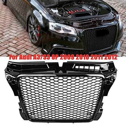HJHNB RS3 Style Hex Mesh Honingraat Hood Front Grill Grille voor Audi A3/S3 8P 2009 2010 2011 2012, Auto Bumper Radiator Decoratieve Wijziging Vervanging, Glanzend Zwart