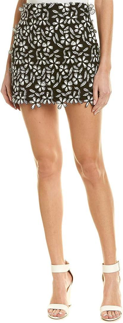 French Connection Women's Fulaga Floral Lace Overlay Mini Skirt Skirt, Black/SMMR White, 12