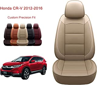 OASIS AUTO 2012-2016 CRV Custom Fit PU Leather Seat Cover Compatible with Honda CR-V 2012-2013-2014-2015-2016 (2012-2016 CRV, TAN)