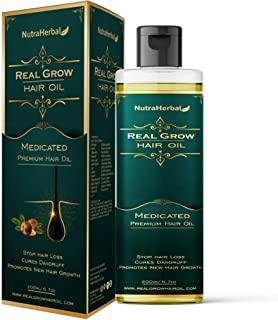 NutraHerbal Real Grow Hair Oil (Reduces Hair Fall and Grows New Hair, 100% Ayurvedic Oil, 200ml)