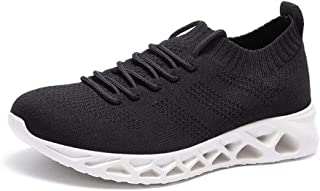 Shangruiqi Summer Perforated Sneakers for Men Running Shoes Lace up Breathable Knit Mesh Fabric Lightweight Antislip Outsole Anti-Wear (Color : White, Size : 5 UK)