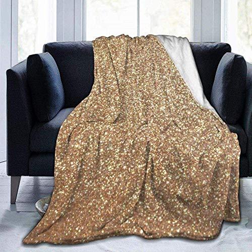 CVMFE Throw Blanket,Copper Rose Gold Metallic Glitter,Warm Ultra Soft Flannel Fleece Light Weight Blanket Sofa Bed Living Room Bedroom for Adult Children