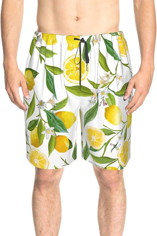 JINJUELS Mens Swim Trunks Lemon Leaves Swim Boardshorts Drawstring 3D Printed Summer Beach Shorts with Liner