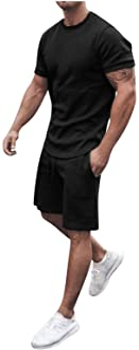 Men's Summer 2-Piece Sets Casual Tracksuit Running Jogging Sweat Suits Beach Short Sleeve Shirts & Shorts Pants Sets