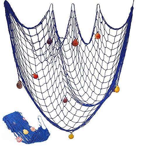 BESTZY Decorativa Red de Pesca Náutica con Conchas, Mediterránea del Estilo Decorativa Red de Pesca Náutica Pirate Colgante para Fiestas de cCumpleaños de Navidad (Azul, 200x150cm)