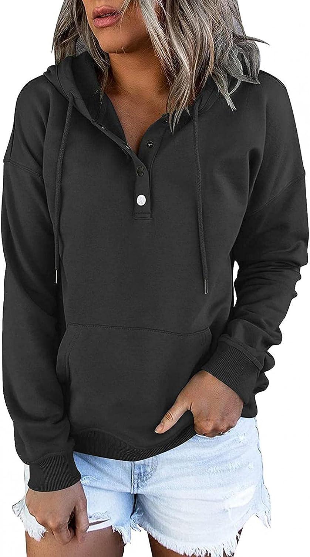 Masbird Fall Hoodies for Women Fashion Casual Button Down Long Sleeve Hoodies Cool Oversized Sweatshirts with Pockets
