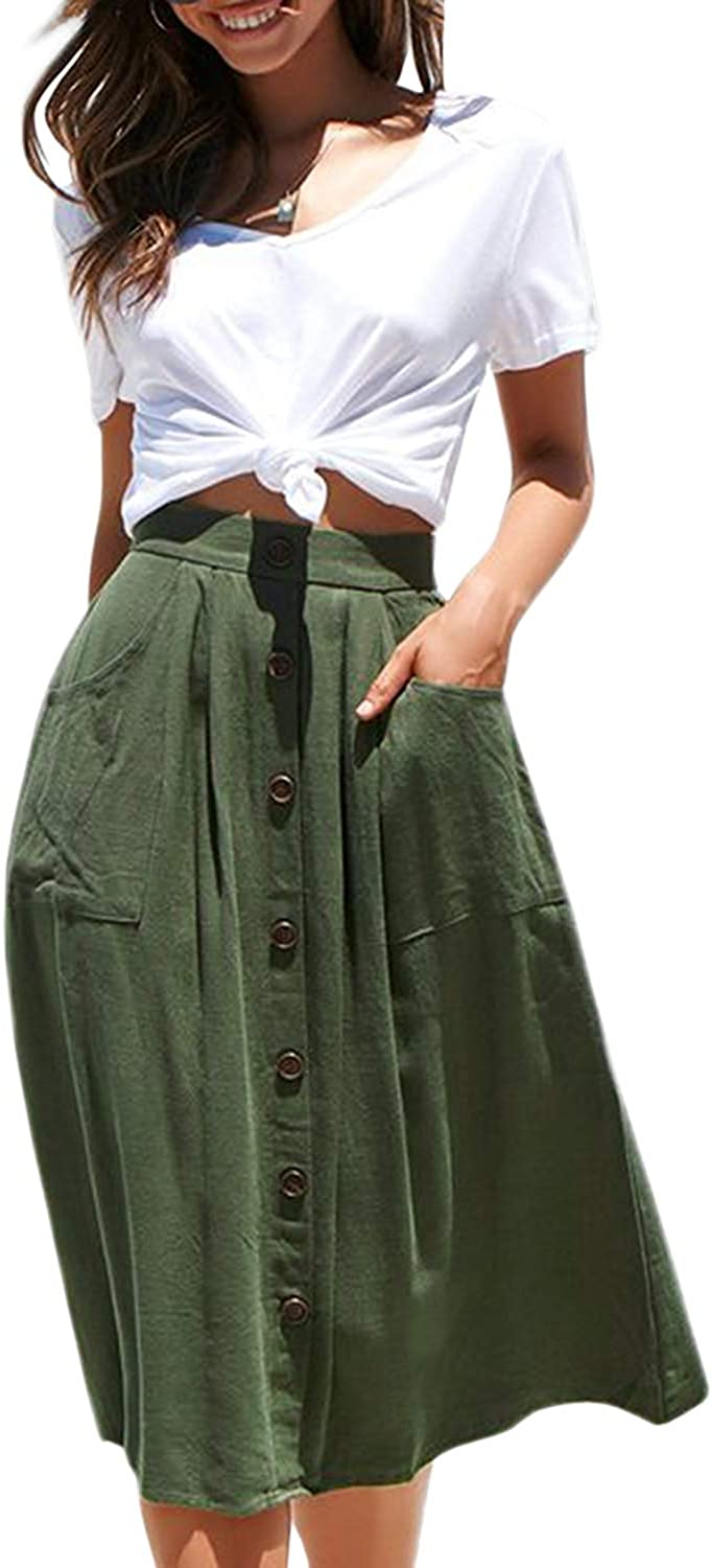 HENGAO Women's Midi Skirt Casual A Line Front Button High Waist Skirts with Pockets