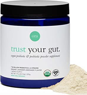 Ora Organic Trust Your Gut Vegan Probiotic with Prebiotic Powder Lavender Lemonade, 225 grams