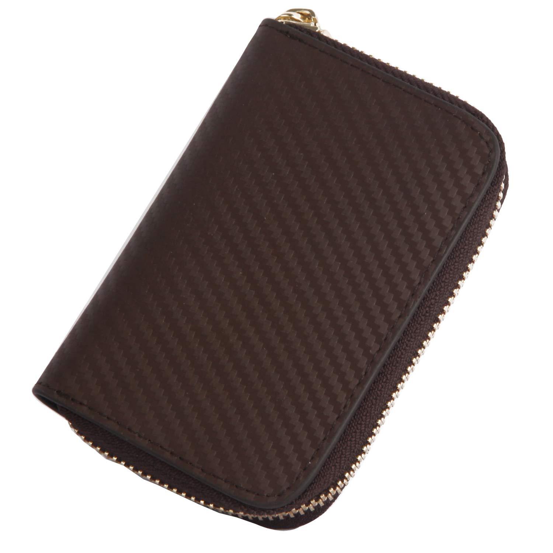 X.A 本革 カードケース 牛革 カーボンレザー カード入れ 名刺 クレジット カードケース 大容量 ファスナー 11ポケット じゃばら式