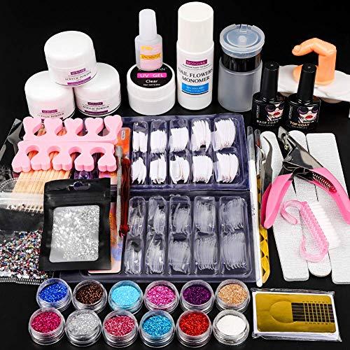 12 Glitter Acrylic Nail Kit Acrylic Powder Kit Nail Tips Nail kit Nail Decorations Nails Kit Professional Acrylic Nail Set