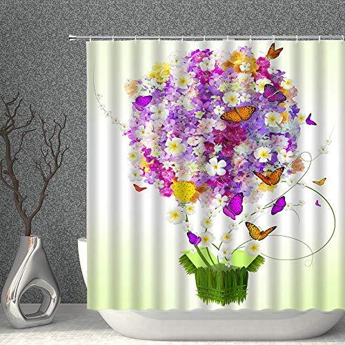 Bunter Blumendekor Duschvorhang Frühling Blumenschmetterling Lila Gelbgrün Stoff Badvorhänge Wasserdichtes Polyester mit Haken