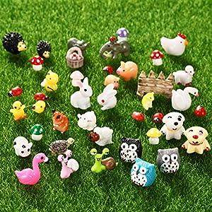 70 pieces miniature fairy garden accessories mini animals miniature ornament kit fairy animal figurines micro landscape accessories for diy dollhouse plant decor tortoise flamingo honeybee bunny