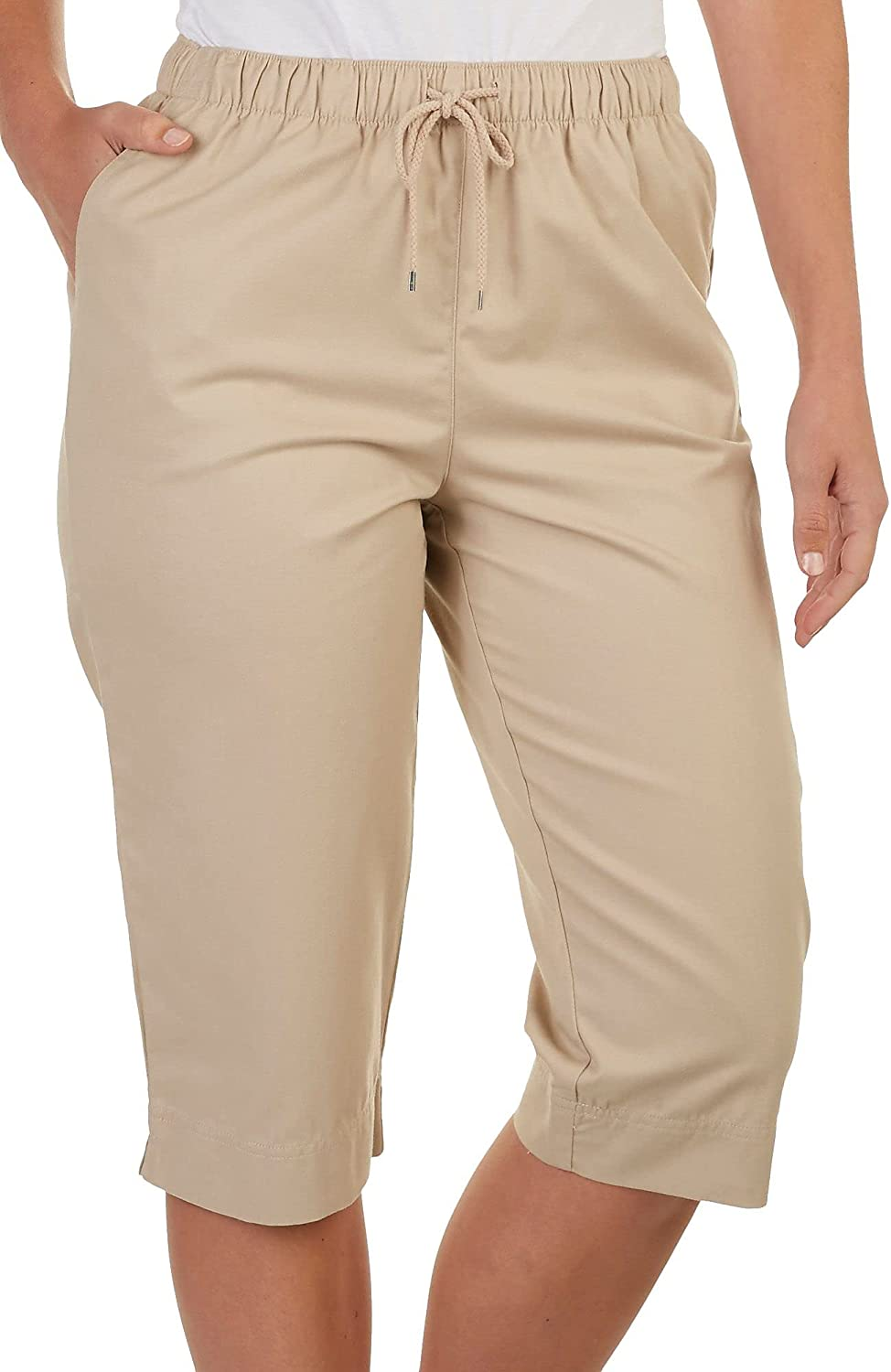 Coral Bay Womens low-pricing Max 84% OFF Drawstring Black Small Capris Twill