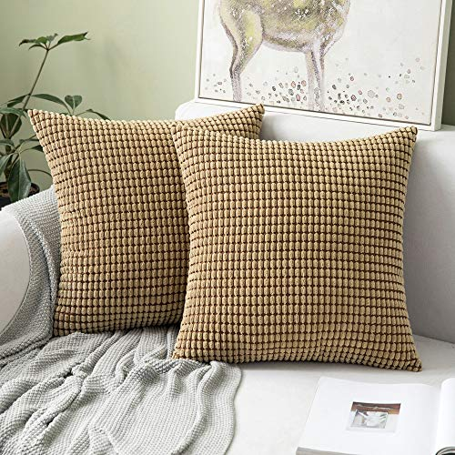 MIULEE Set of 2 Corduroy Soft Big Corn Solid Decorative Square Throw Pillow Covers Cushion Case For Sofa Bedroom 50 x 50 cm 20 x 20 Inch Brown