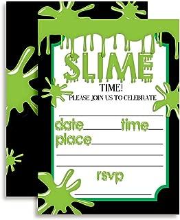 Green Slime Birthday Party Invitations, 20 5